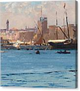 Boats In A Port Canvas Print