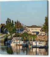 Boats In A River, Walnut Grove Canvas Print