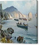 Boats In A Rocky Cove  Canvas Print
