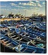 Boats In Essaouira Morocco Harbor Canvas Print
