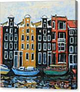 Boats In Front Of The Buildings Vi Canvas Print