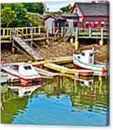 Boats In Halls Harbour-nova Scotia  Canvas Print