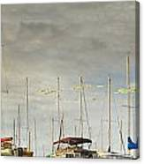 Boats In Harbor Reflection Canvas Print