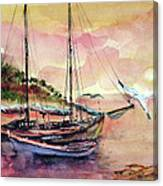 Boats In Sunset  Canvas Print