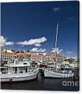 Boats Line Victoria Dock Hobar Canvas Print