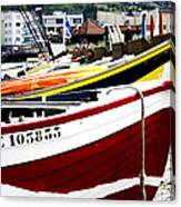 Boats On A French Beach Canvas Print