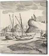 Boats On A River Bank, Jan Van De Velde II Canvas Print