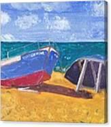 Boats On Cascais Beach Canvas Print