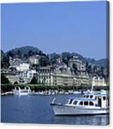 Boats On Lake Geneva Canvas Print