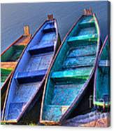 Boats On River Canvas Print