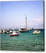 Boats On The Aegean Sea 1 - Mykonos - Greece Canvas Print