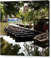 Boats On The Thames River Oxford England Canvas Print