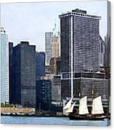 Boats - Schooner Against The Manhattan Skyline Canvas Print