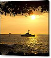 Boats Under The Hawaiian Sunset Canvas Print