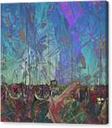 Boats W Painted Abstract Canvas Print