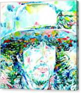 Bob Dylan - Watercolor Portrait.2 Canvas Print