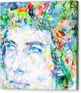 Bob Dylan Watercolor Portrait.3 Canvas Print