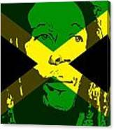 Bob Marley On Jamaican Flag Canvas Print