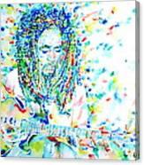 Bob Marley Playing The Guitar - Watercolor Portarit Canvas Print