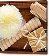 Body Care Accessories In Wood Tray Canvas Print