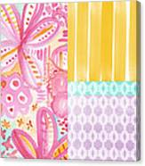 Boho Aztec Patchwork- Flower Painting Canvas Print