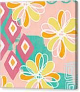 Boho Floral Garden Canvas Print