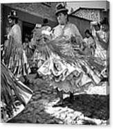 Bolivian Dance Framed Black And White Canvas Print