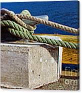 Bollard Closeup - Ropes - Mooring Lines - Wharf Canvas Print