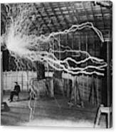 Bolts of electricity discharging in the lab of Nikola Tesla. Canvas Print