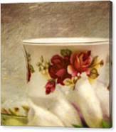 Bone China Teacup And Foxgloves Canvas Print