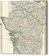 Bonne Map Of Poitou Touraine And Anjou France Canvas Print