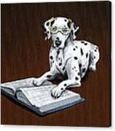 Book worm...Dog Art Painting Canvas Print