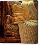 Books On Victorian Sofa Canvas Print