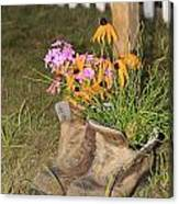 Boots In Bloom Canvas Print
