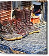 Boots Lined Up After The Hunt Canvas Print