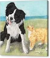 Border Collie Dog Orange Tabby Cat Art Canvas Print