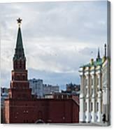 Borovitskaya Tower Of Moscow Kremlin - Square Canvas Print