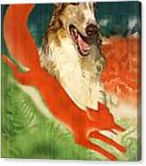 Borzoi Art - Hunting In The Ussr Poster Canvas Print