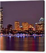 Boston Back Bay Skyline At Night Color Panorama Canvas Print
