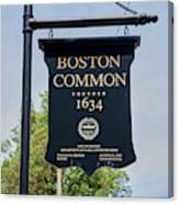 Boston Common Park Sign, Boston, Ma Canvas Print