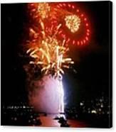 Boston Fireworks  Rings And Pinwheels Canvas Print