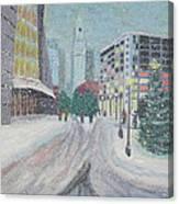 Boston First Snow Canvas Print