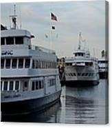 Boston Harbor Cruise Three In A Row Canvas Print