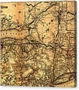 Boston Hoosac Tunnel And Western Railway Map 1881 Canvas Print