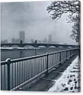 Boston Longfellow Bridge-snow Cityscape Canvas Print