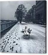 Boston Longfellow Bridge-snow Cityscape V2 Canvas Print