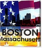 Boston Ma Patriotic Large Cityscape Canvas Print