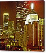 Boston Massachusetts Night Scene Digital Art Canvas Print