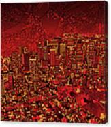 Boston Panorama Red Canvas Print