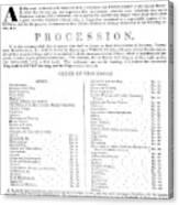 Boston Procession, 1789 Canvas Print